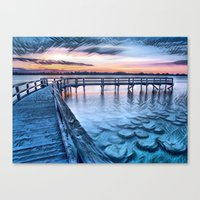 Canvas Prints featuring Dock on the River (Sunset) by HIGraphicDesigns