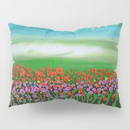 The meadow - A landscape in the background a blue sky and wildflowers Pillow Sham