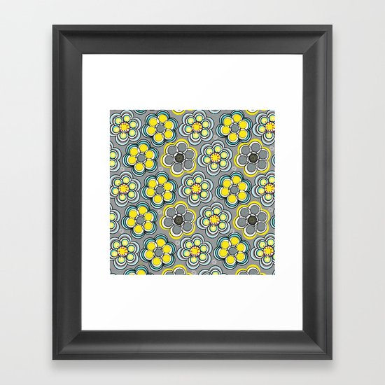 Yellow Circle Flowers Framed Art Print