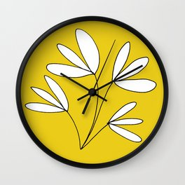 Yellow and White Whimsical Plant Drawing by Emma Freeman Designs Wall Clock