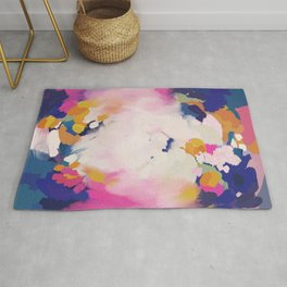 Colourful evening- abstract- blue, pink , orange Rug