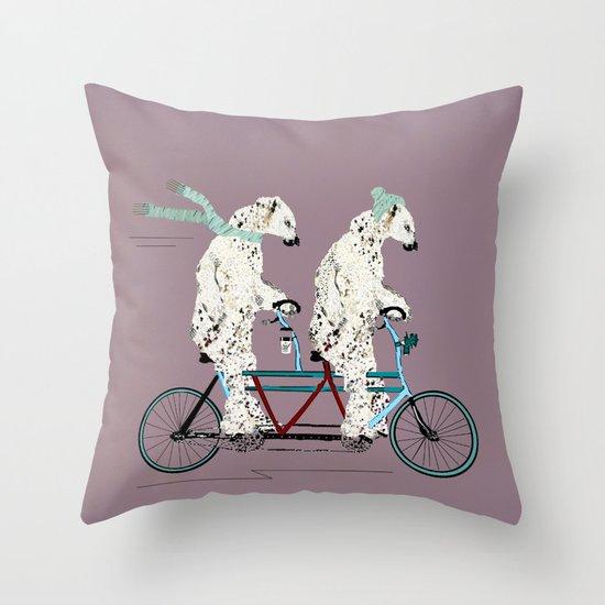 polar bears lets tandem Throw Pillow