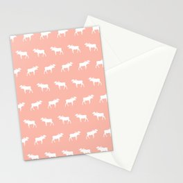 Moose pattern minimal nursery basic peach and white camping cabin chalet decor Stationery Cards