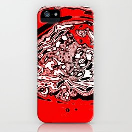 Red Black White Abstract iPhone Case