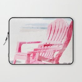 Meet Me at the Beach Chairs on Sunny Coastal Seashore Artistic Rendering without Text Laptop Sleeve