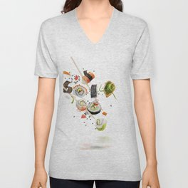 sushi rolls and ingredients with wooden chopsticks isolated on white background Unisex V-Neck