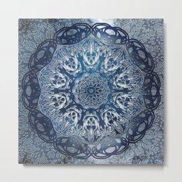 Indigo Nouveau Shibori Mandala Metal Print
