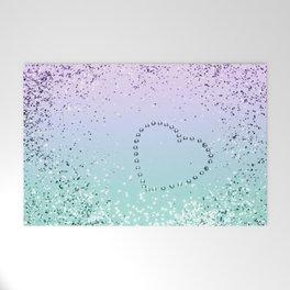 Sparkling MERMAID Girls Glitter Heart #1 #decor #art #society6 Welcome Mat