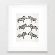 Zebras – Black & White Palette Framed Art Print