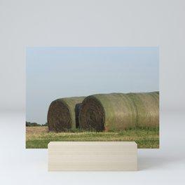 Kansas Hay Bales in a Field Mini Art Print