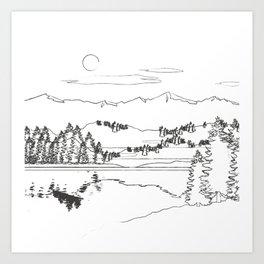 Minimal Mountain Lake Landscape 1 Art Print
