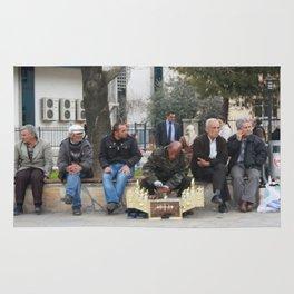 Man Polishing Leather Shoes Shoeshine On Street Mugla Turkey Rug
