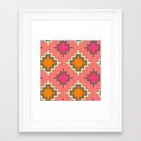 kilim Framed Art Prints featuring tangerine kilim by Sharon Turner