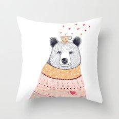 Bear lover of coffee Throw Pillow