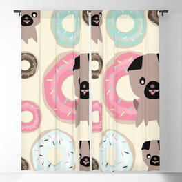 Pug and donuts beige Blackout Curtain