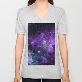 Purple Teal Green Carina Nebula Unisex V-Neck
