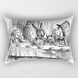 Vintage Alice in Wonderland Mad Hatter & rabbit tea party antique goth emo book gothic drawing print Rectangular Pillow