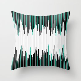 Frequency Line, Vertical Staggered Black, Gray & Teal Line Digital Illustration Throw Pillow