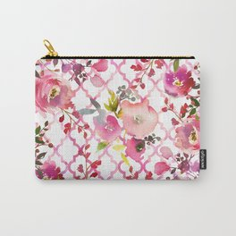 Pink coral violet watercolor floral quatrefoil pattern Carry-All Pouch