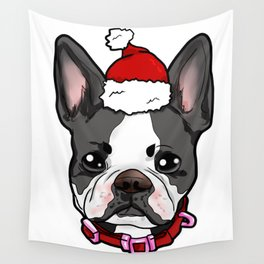 Boston Terrier Dog Christmas Hat Present Wall Tapestry