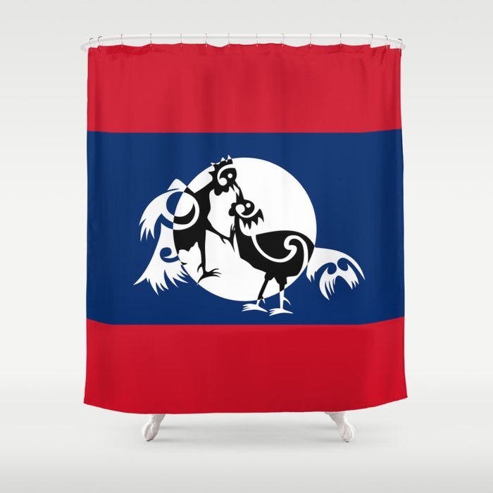 Laos, Roosters Sparring Shower Curtain
