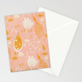 Mod Floral Pink Yellow  Stationery Cards