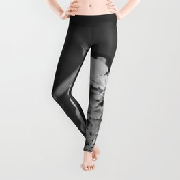 Black and White Peony Stem Leggings