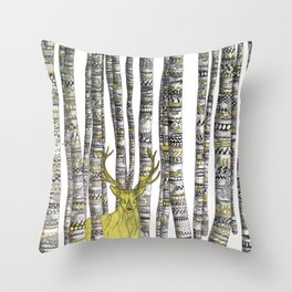 The Golden Stag Throw Pillow