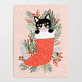Cat on a sock. Holiday. Christmas Poster