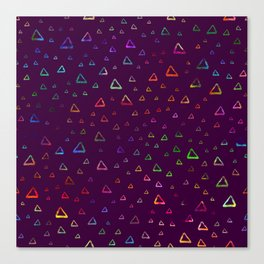Watercolor rainbow colorful triangles on violet Canvas Print