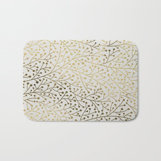 Gold Berry Branches Bath Mat