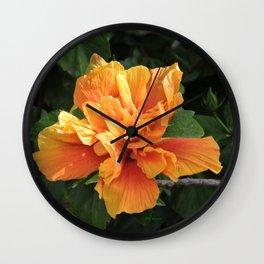 The Golden Double Hibiscus Next Door Wall Clock