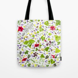 Leaves and flowers pattern (27) Tote Bag
