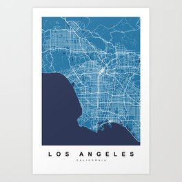 Los Angeles Map | California | United States | Blue Color Art Print