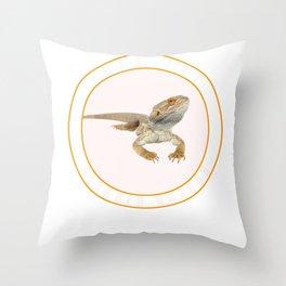 Fear the Bearded Dragon Lizard Reptile  Throw Pillow