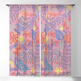 Tropicalia - Pink Sheer Curtain