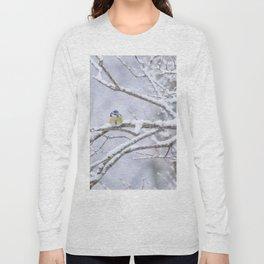 Blue Tit On A Snowy Branch Winter Scene #decor #society6 Long Sleeve T-shirt