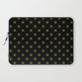 Electric Yellow on Black Snowflakes Laptop Sleeve