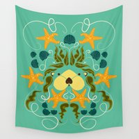otter Wall Tapestries featuring Sea Otter by Janine Lecour