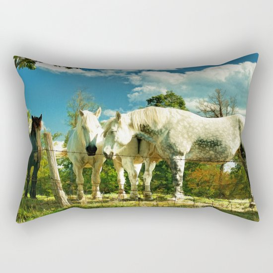 Amish work horses Rectangular Pillow