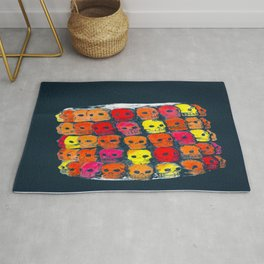 colorful  skulls ceramic vase Rug