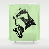 saxophone Shower Curtains featuring Badger Saxophone by mailboxdisco