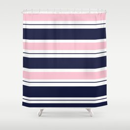 Blue Navy and Pink Stripes Shower Curtain