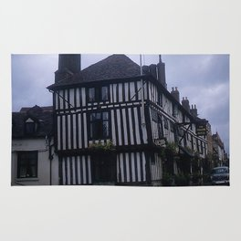 Vintage England Art Print * Kodachrome * 1950's * Falcon Hotel * Stratford * European Photography Rug