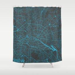 Berlin Map blue Shower Curtain