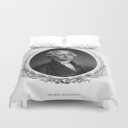 Engraving and anonymous portrait of Thomas Jefferson. Duvet Cover