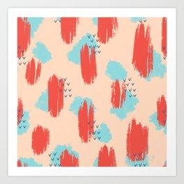 Coral brushstroke abstract art digital painting Art Print