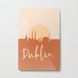 DUBLIN IRELAND CITY SUN SKYLINE EARTH TONES Metal Print