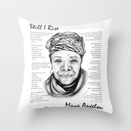 Still I Rise Print Maya Angelou Poem Throw Pillow