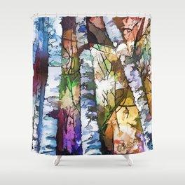 White Aspen an Birch Trees Shower Curtain
